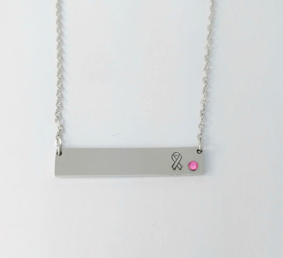 Bling Chicks Pink Ribbon Awareness Bar Necklace - Bling Chicks Jewelry Accessories Gifts