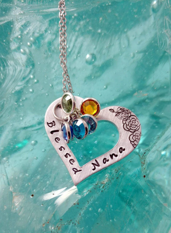 Blessed Nana, Grandma, Mimi, Nona, or Grams Bling Chicks Grand-kids Birthstone Necklace - Bling Chicks Jewelry Accessories Gifts