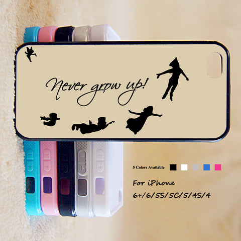 Peter Pan Never Grow Up Phone Case For iPhone 6 Plus For iPhone 6 For iPhone 5/5S For iPhone 4/4S For iPhone 5C iPhone X 8 8 Plus