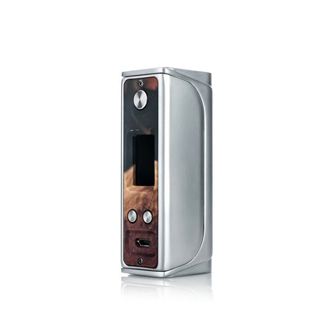 Sigelei Evaya 66W Mod with Stabilized Wood face plate, stainless steel. The Village Vaporette.