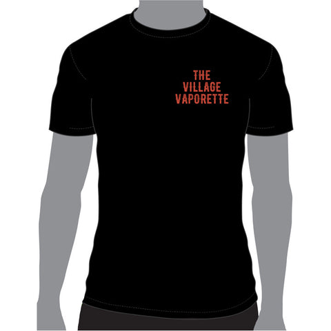 Mens T-shirt with logo on front and back. The Village Vaporette.