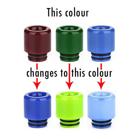 810 Resin Thermochromic (colour changing) Drip Tip, all colours. The Village Vaporette, Cambridge, Ontario, Canada, mouthpiece, vape mouth piece, changes colour, color,