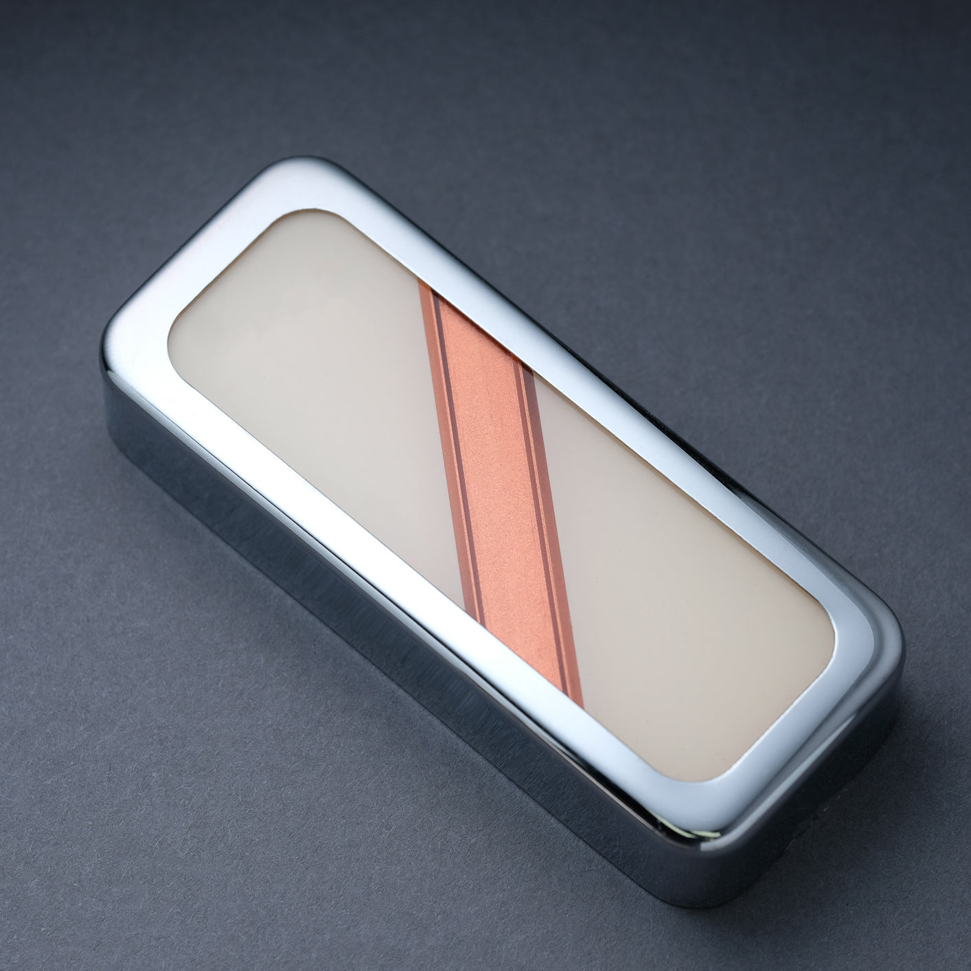 The Stripe - P90 Soapbar Cover - Nickel Trim - Copper on Ivory Face