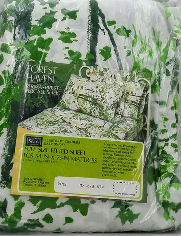 NIP Vintage Sheet - Full Fitted - Forest Haven - Green - STFF45