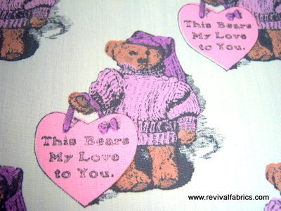 1973 Retro Fabric - Cotton - This Bears My Love to You - Fabric Remnant - SLR4033