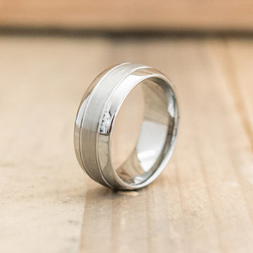 8mm Polished Tungsten Ring with a Double Grooved Brushed Polish Center