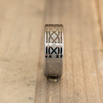 8mm Tungsten Carbide Band Laser Engraved with an Infinity Design