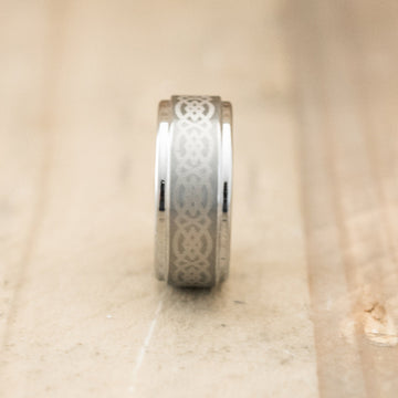 8mm Tungsten Ring Laser Engraved with an Celtic Design on Center Stripe