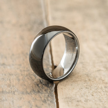 8mm Polished Tungsten & Ceramic Ring