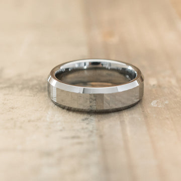 6mm Tungsten Carbide Beveled Ring with Rectangular Facets