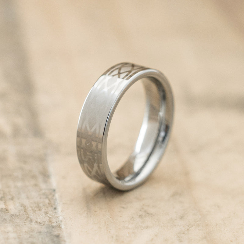 6mm Tungsten Carbide Band Laser Engraved with an Infinity Design