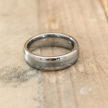 6mm Domed Tungsten Carbide Ring with a Brushed Center Stripe