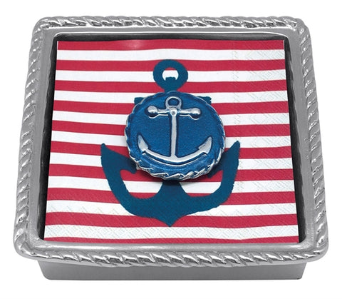 Cobalt Anchor Emblem Beaded Napkin Holder
