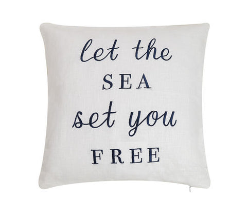 Let The Sea Set You Free Embroidered Pillow