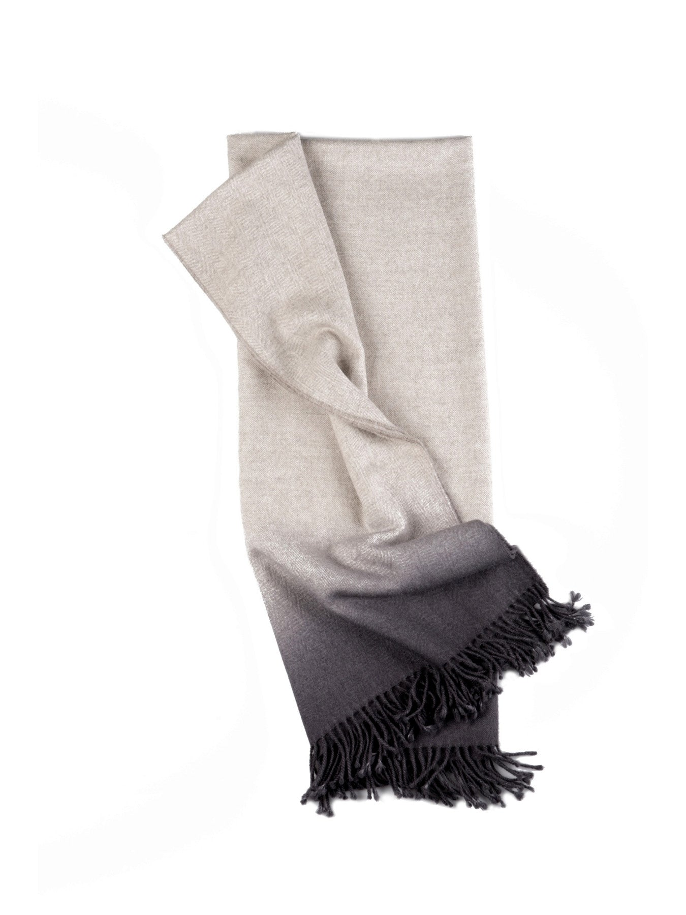 Fringe Dyed Baby Alpaca Throw-Charcoal