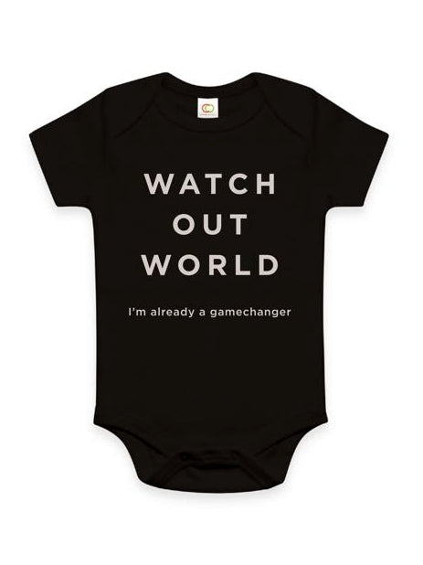 Watch Out World Cotton Onesie - Black