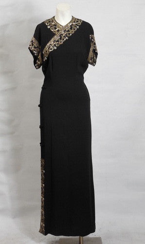 SOLD! 1930s 1940s Black Rayon Crepe Cheongsam Style Evening Gown Gorgeous
