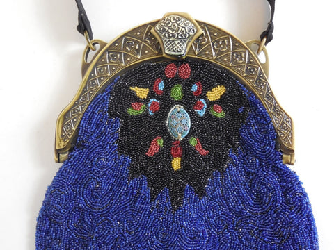SOLD! 1900's 1920's Multi Colored Beaded Purse with Carved Celluloid Frame Amazing