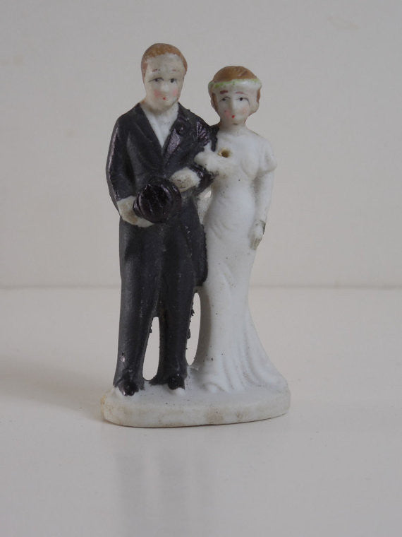 Vintage 1930 Art Deco Bride and Groom Wedding Cake Topper Made in Japan