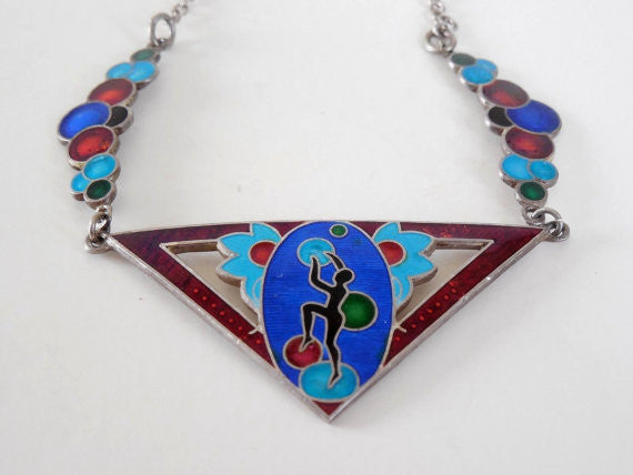 SOLD! Antique Estate Vintage Art Deco Enamel Bubble Necklace Dancer