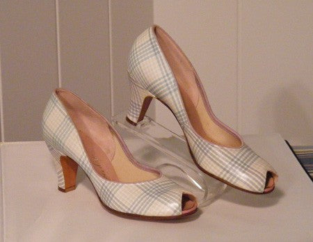 1950's Vintage Dead Stock Tweedies Pastel Plaid High Heeled Pumps Shoes