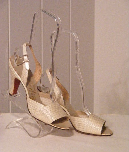 1950's Vintage Dead Stock White Leather Slingback Heels by Troylings VLV Rockabilly Viva Las Vegas