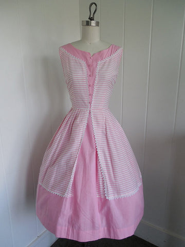1950 1960 Vintage Pink and White Striped Day Dress Rockabilly