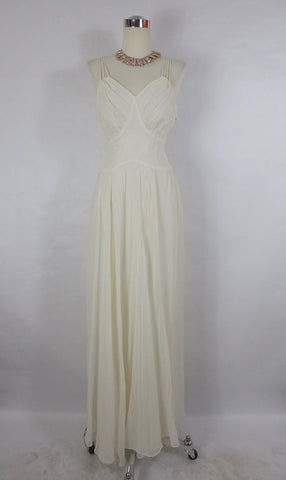 1940's Vintage White Chiffon Evening/ Wedding Gown