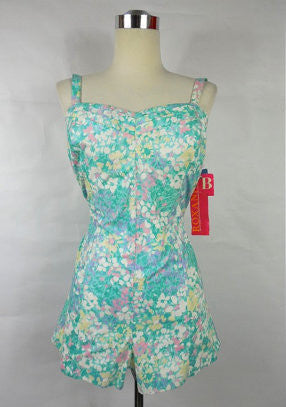 SOLD! 1960's Dead stock Vintage Blue and White Floral Sweetheart Romper by Roxanne B cup