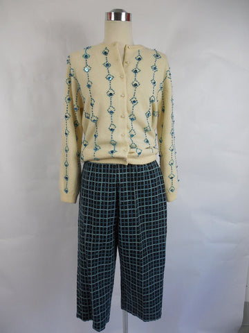 1960's Vintage Plaid Embroidered Bermuda Shorts