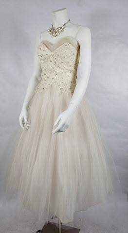 1950's Vintage White Tulle Prom Dress with Red Glitter