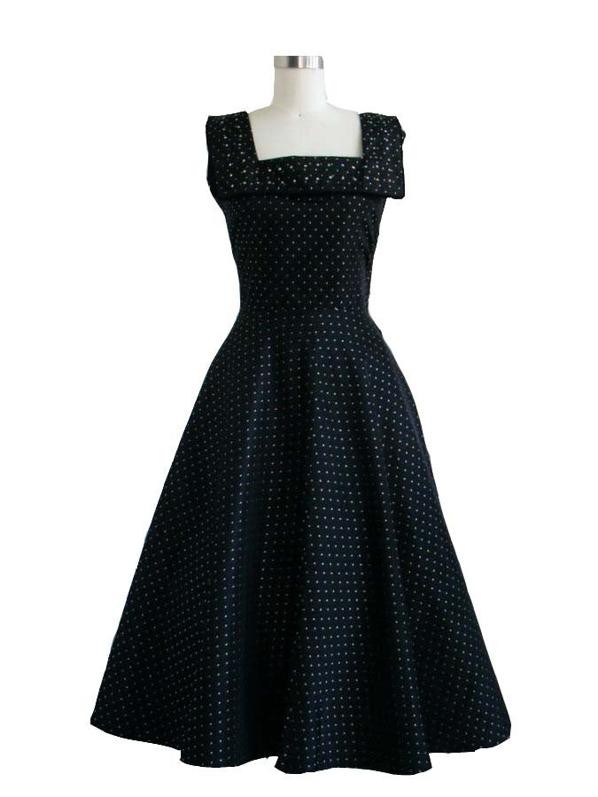 SOLD! 1950's Vintage Black Cocktail Dress with Polk a dots