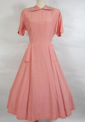 SOLD! 1950's Vintage Pink Day Dress with Daisy Collar