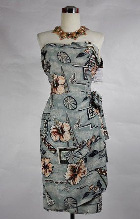 SOLD! 1950's Vintage Gray Hawaiian Sarong with Pink Flowers Wiggle Dress