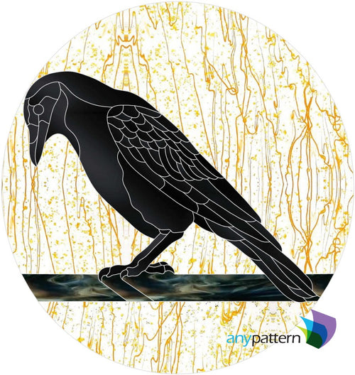 Crow Moon Stained Glass Pattern