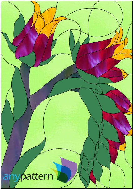 Dudleya Succulent Flower Stained Glass Pattern