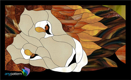 Lazy Lion Stained Glass Pattern