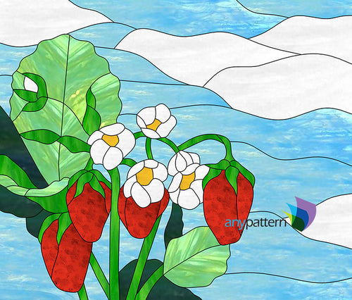 Strawberries Stained Glass Pattern