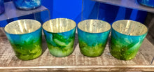 Glass Marbled Votive Holder With Mercury