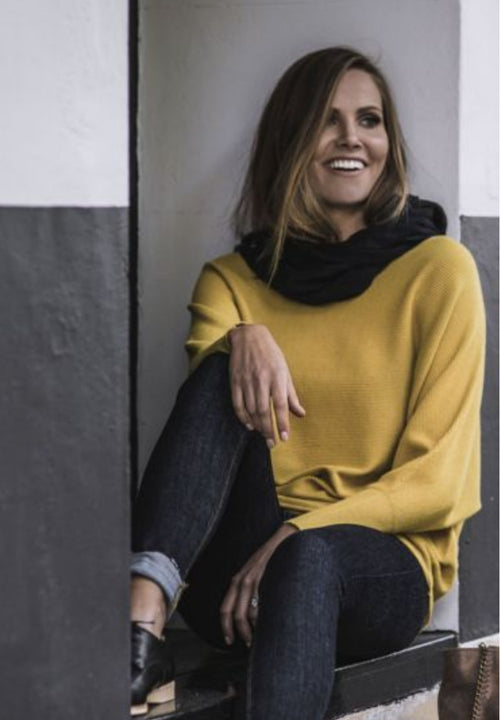 HUMIDITY - Mustard Batwing basic Knit Top