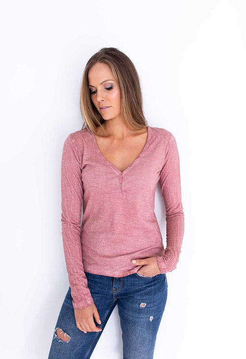 HUMIDITY - Blush V Neck Tee