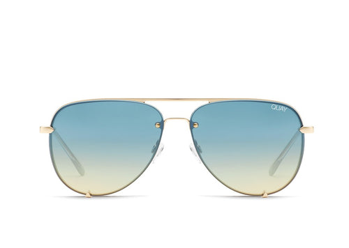 QUAY AUSTRALIA - High Key Mini Rimless Gold/Blue