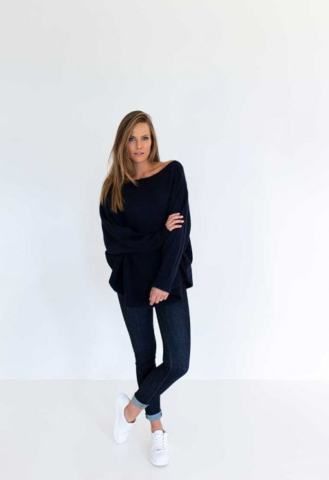 HUMIDITY - Navy Lazy Sweater