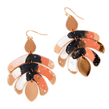 KAIA PAINTED LEAF DROP EARRINGS-ROSE GOLD