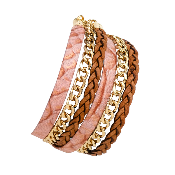 ROSARA DOUBLE WRAP LEATHER BRACELET
