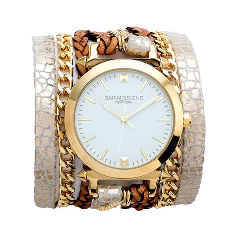 TAUPE URBAN SPIKE WRAP WATCH
