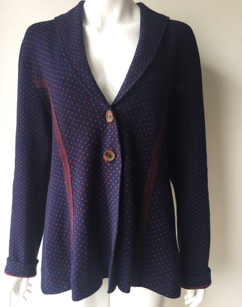 Anthropologie Rosie Neira Red & Blue Polka Dot Cardigan Sweater Size XL