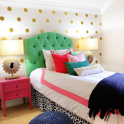 30 Gold Metallic 4 inch Polka Dot Vinyl Wall Decals - Wall Dressed Up