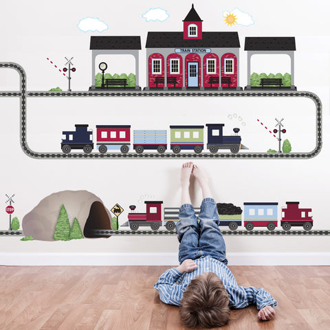 2 Freight Trains, Train Station & Tunnel Wall Decals with Straight & Curved Railroad Track Col.2 - Wall Dressed Up