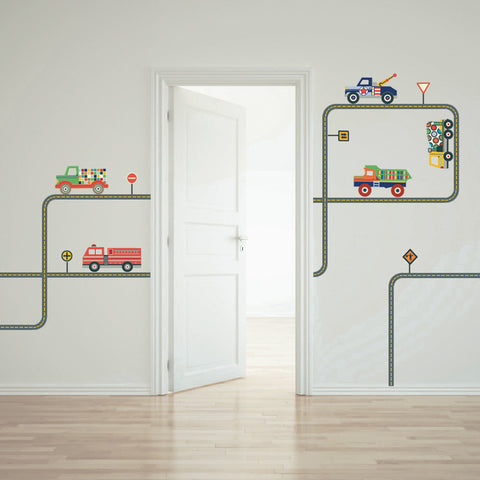 Terrific Trucks and Gray Road Wall Decals Curved and Straight - Wall Dressed Up